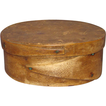 19thC Primitive New England Wooden Oval Pantry Box Soda Lapped Finger Provenance Rustic Farmhouse