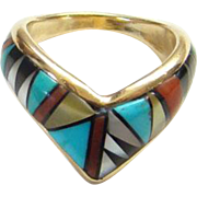 Vintage Southwestern 14K Yellow Gold Inlay Ring Turquoise Coral Jet Mother of Pearl Size 6.75