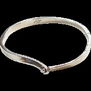 Vintage JRI Taxco Mexico 925 Sterling Silver Modernist Style Bangle Bracelet Signed