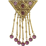Vintage Goldette Large Amethyst Rhinestone Goldtone Dangle Brooch Etruscan Revival