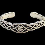 Sterling Silver Celtic Knot Cuff Bracelet Signed 925 SL
