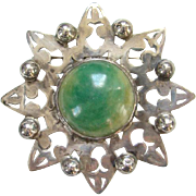 Old Large Mexico Silver Yellow Green Agate Cabochon Stone Aztec Style