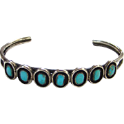 Vintage Native American Turquoise Shadowbox Cuff Bracelet Sterling Silver