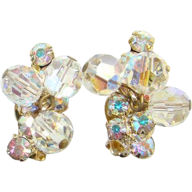 Juliana Aurora Borealis Rhinestone Bead Dangle Clip Earrings Goldtone DeLizza Elster