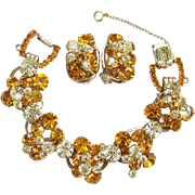 Juliana Yellow Topaz Citrine Rhinestone Set 5 Link Cluster Bracelet Clip Earrings DeLizza Elster Book Piece