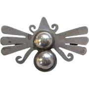 Taxco Mexico Jorge Chato Castillo 980 Silver Butterfly Brooch Pin JC Hallmark 1930s