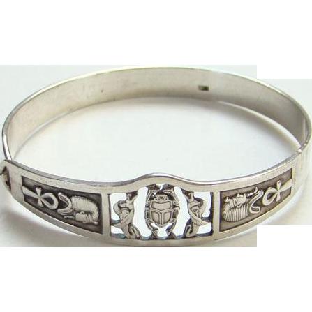 Vintage Sterling Silver Egyptian Revival Clip Bangle Bracelet Pharaoh Scarab Ankh