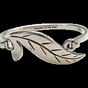 Vintage Taxco Mexico Sterling Clip Bangle Bracelet TC-110 925 Leaf Design