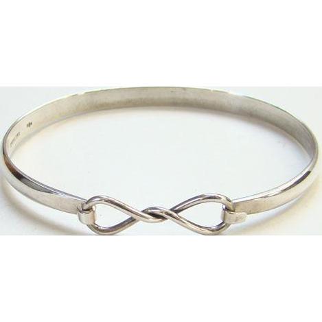 Vintage Sterling Silver Clip Bangle Bracelet Southwestern Style Hallmarked