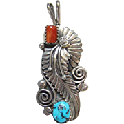Vintage Navajo Morenci Turquoise and Coral Necklace Pendant Signed Sterling