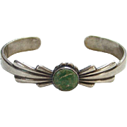 Fred Harvey Era Silver Arrow Trading Post Green Turquoise Cuff Bracelet Sterling Silver 1930s-40s