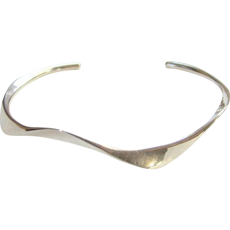 Vintage Modernist Style Sterling Silver Stacking Cuff Bracelet Possibly Artist Studio