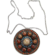 Old Gemstone Ethnic Pendant Necklace India Indian Jewelry Coral Turquoise Carnelian Boho Bohemian