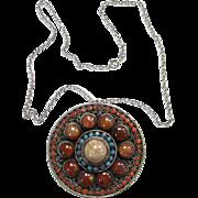 Old Gemstone Ethnic Pendant Necklace India Indian Jewelry Coral Turquoise Carnelian Boho Bohemian