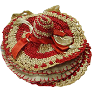 C1950s Sewing Needle Pin Book Thimble Holder Red White Crochet Hand Embroidered Sombrero Hat