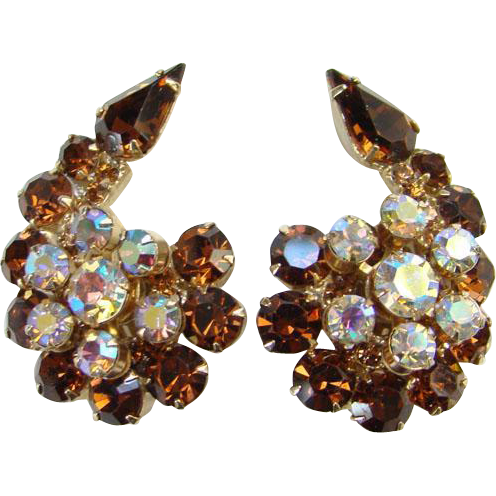 Juliana Topaz Aurora Borealis Rhinestone Flower Spray Clip Earrings DeLizza Elster Verified