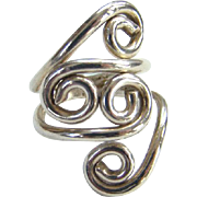 Taxco Mexico 925 Sterling Silver Swirl Ring Size 4.5 Hallmarked