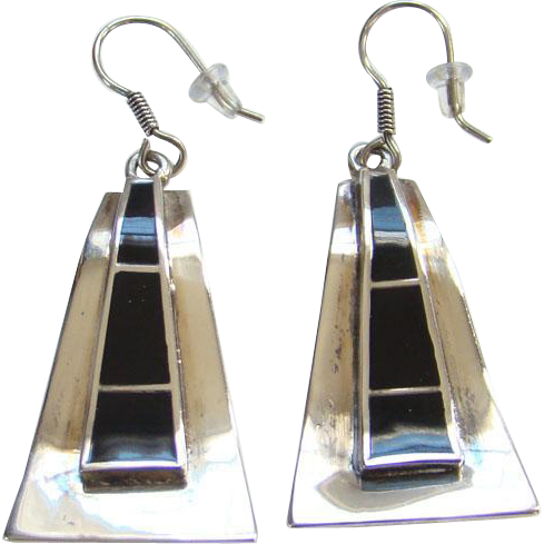 Vintage Taxco Mexico Black Onyx Inlay Pierced Earrings 925 Sterling Silver LFO TF-18