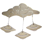 Taxco Mexico 925 Sterling Silver Pin Brooch Cloud with Dangling Flying Saucers UFOs