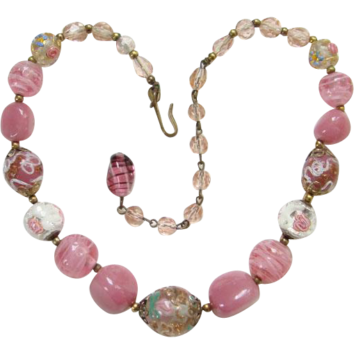 Vintage Antique Venetian Murano Lampwork Foil Wedding Cake Pink Art Glass Bead Choker Necklace