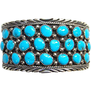 Vintage Sterling Silver Turquoise Cuff Bracelet Signed JS Native American