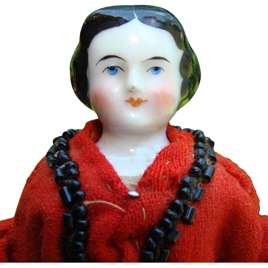 Old 7 Inch China Shoulder Head Doll House Doll in Red Tradecloth Wool Dress Chipped Toes