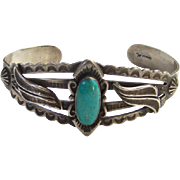 Bell Trading Post Turquoise Cuff Bracelet Fred Harvey Era Sterling Two Excellent Repairs