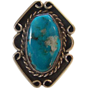 Vintage Navajo Turquoise Ring Sterling Silver Size 7.5 Gorgeous Stone Native American