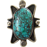 Vintage Spider Web Turquoise Native American Ring Black Matrix Signed W Size 6.5