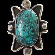 Vintage Spider Web Turquoise Native American Ring Black Matrix Signed W Size 6.5