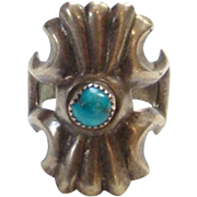 Old Sand Cast Sterling Silver Turquoise Ring Size 6 Native American