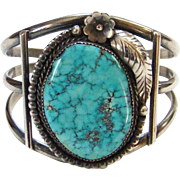 Vintage Navajo Spider Web Turquoise Cuff Bracelet Sterling Silver Native American