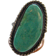 Old Navajo Green Turquoise Ring Sterling Silver Size 5 Beautiful Stone Native American