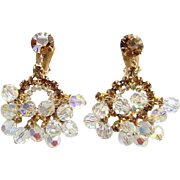 Vintage Juliana Champagne Rhinestone Chandelier Clip Earrings Aurora Borealis Clear Bead Dangles