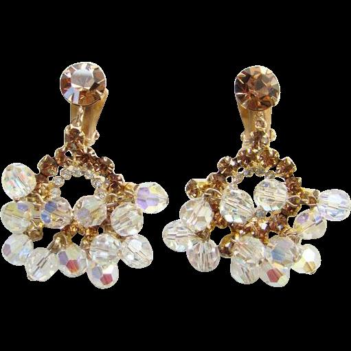 Vintage Juliana Champagne Rhinestone Chandelier Clip Earrings Aurora Borealis Clear Bead Dangles