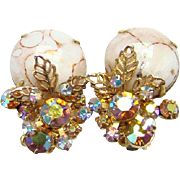 Juliana Cabochon Matrix Aurora Borealis Topaz Rhinestone Clip Earrings 1964 Book Piece