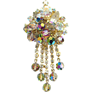 Juliana Aurora Borealis Topaz Beaded Clear Rhinestone Dangle Brooch DeLizza Elster