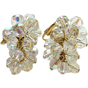 Vintage Aurora Borealis Bead Cluster Clip Earrings