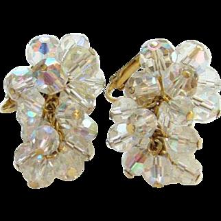 Vintage Aurora Borealis Bead Cluster Clip Earrings