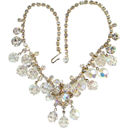 Juliana Clear Bead Dangle Rhinestone Bib Necklace DeLizza Elster