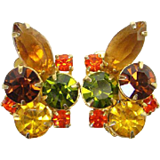 Juliana Watermelon Green Yellow Rhinestone Clip Earrings