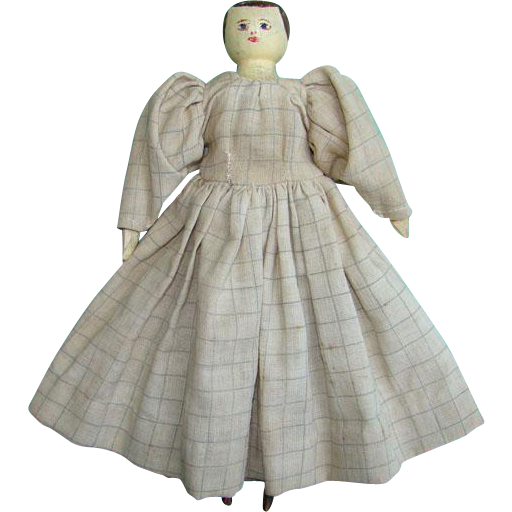 Old Peg Wooden Doll Jointed Hand Carved Tan Checked Dress Hand Painted 9 Inch