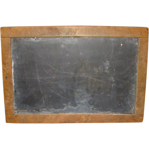 19thC Mid 1800s Primitive Child School Writing Slate Initialed WW Willy
