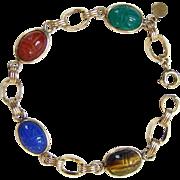 Vintage Bojar Company 12K Gold Filled Scarab Bracelet 1950-60 Gemstone Jewelry