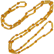 Vintage Flapper Era Art Deco Amber Color Glass Bead Necklace 56 Inches C1920s