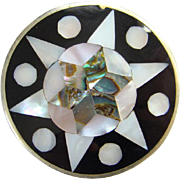 Vintage Mexico Alpaca Brooch Mother of Pearl Abalone Onyx Inlay Six Point Star Design