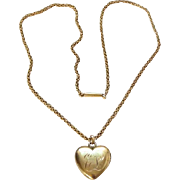 Antique 10K Yellow Gold Heart Pendant Necklace Monogrammed EL Dated Mar 23 1899