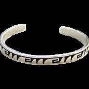 Old Hopi Indian Sterling Silver Overlay Cuff Bracelet Geometric Design Native American