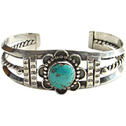 Southwestern Tribal Vintage Cuff Bracelet Sterling Silver Turquoise Boho Bohemian Gypsy Hippie