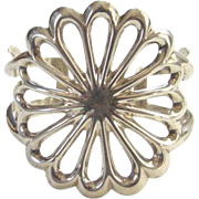 Vintage Native American Sand Cast Silver Cuff Bracelet Marked Sterling